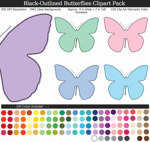 Black-Outlined Butterfly Clipart Pack