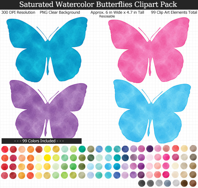 Saturated Watercolor Butterflies Clipart Pack