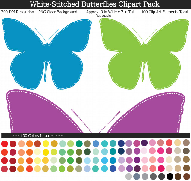 White-Stitched Butterflies Clipart Pack