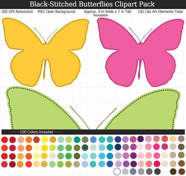 Black-Stitched Butterfly Clipart Pack