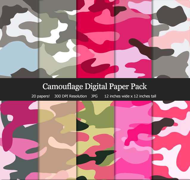 Super cute camo digital papers for my scrapbook, cards and birthday parties!