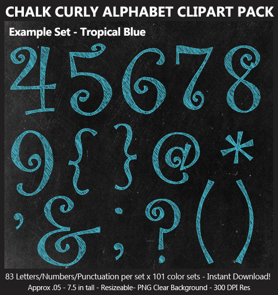 Love these cute chalk curly alphabet clip art for birthday banners and classroom decoration - Letters and Numbers Punctuation