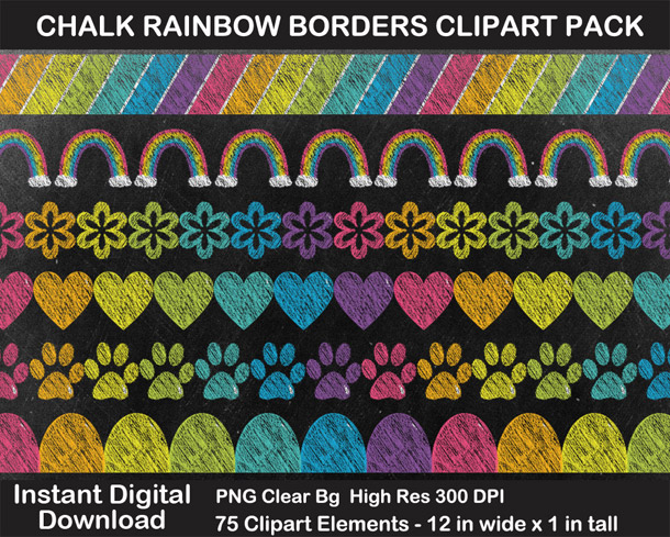 Love these fun chalkboard rainbow borders clipart!