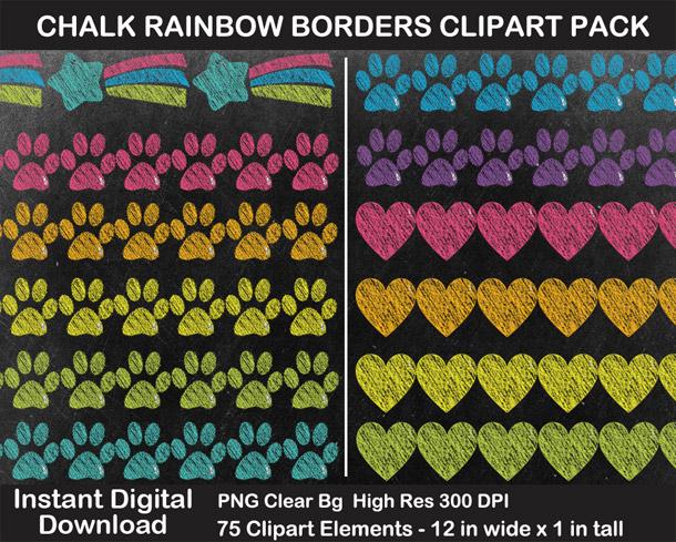 Love these fun chalkboard rainbow borders clipart!