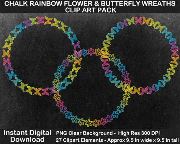Love these fun chalkboard rainbow flower and butterfly wreaths clipart!