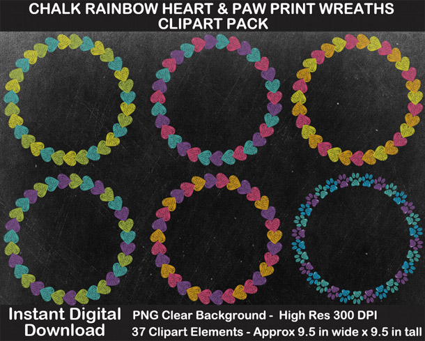 Love these fun chalkboard rainbow heart and paw print wreaths clipart!