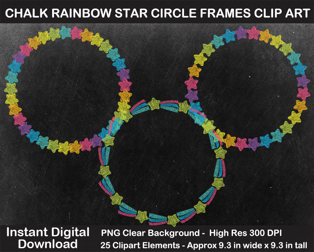 Love these fun chalkboard rainbow star circle frames clipart!