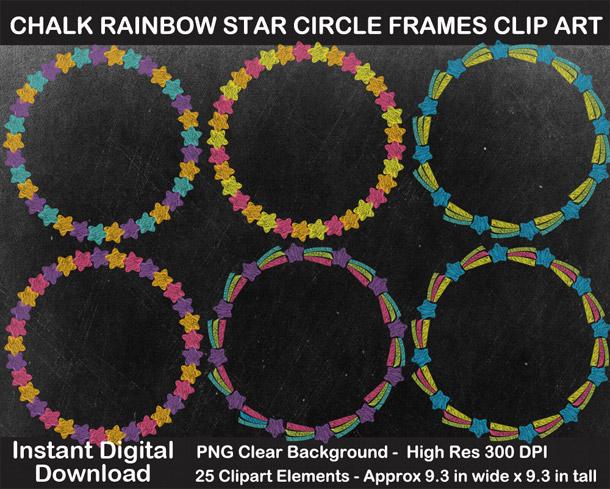 Love these fun chalkboard rainbow star circle wreaths clipart!