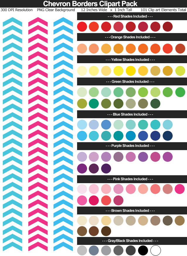 Rainbow Chevron Borders Clipart Pack - Clear Background PNG - Large 12 inches Wide x 1 inch Tall Resizeable - 101 Colors