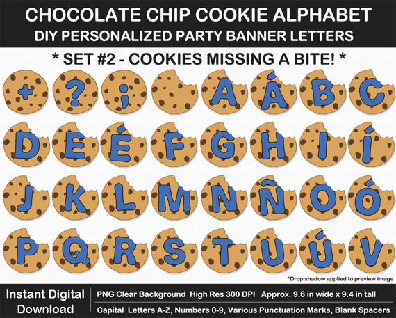 Love these chocolate chip cookie alphabet clip art for DIY cookie birthday banner!