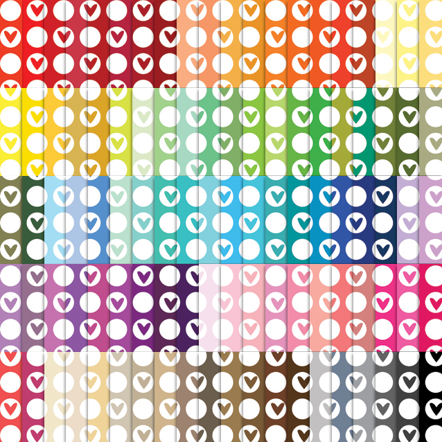 100 Colors Circle Hearts Digital Paper Pack