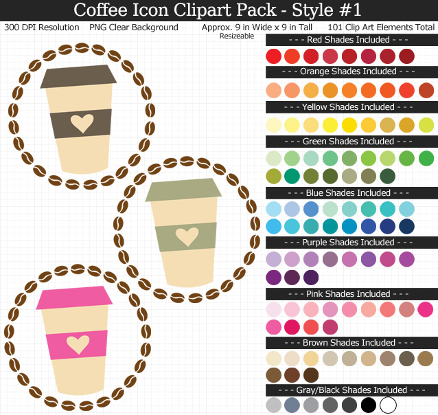 Coffee Icons Clipart Pack