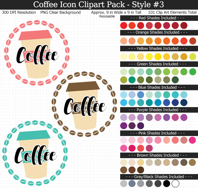 Rainbow Coffee Icon Clipart Pack - Clear Background PNG - Large 9 inches Wide x 9 inches Tall Resizeable - 101 Colors