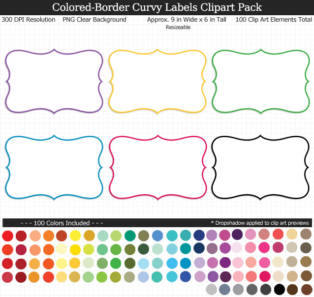 Love these rainbow curvy label clipart for my teacher binders. 100 colors!