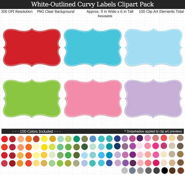 White-Outlined Curvy Labels Clipart Pack