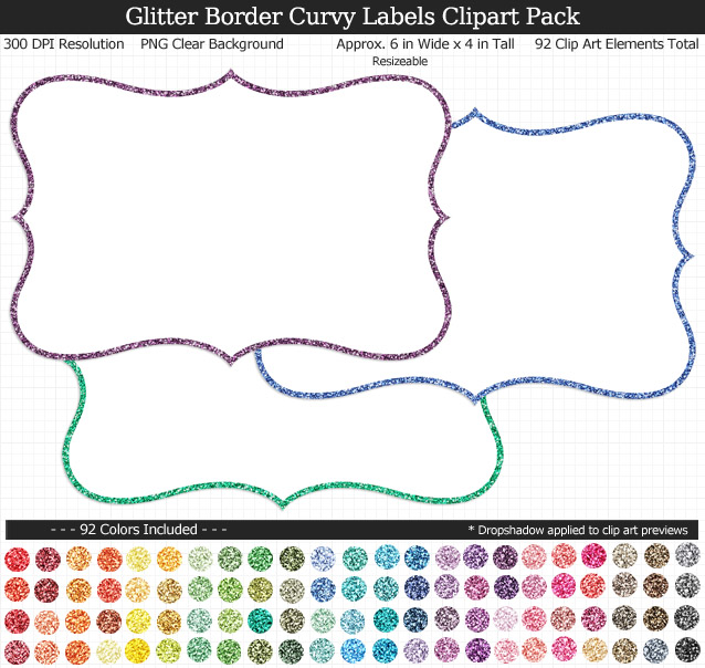 Glittery Curvy Labels Clipart Pack