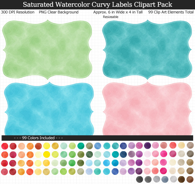 Love these watercolor rainbow curvy label clipart for my teacher binders. 99 colors!