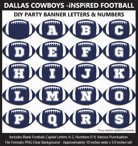 Love these fun Dallas Cowboys Football clipart for game day decoration - Letters, Numbers, Punctuation