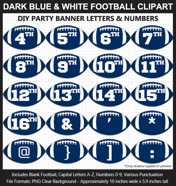 Love these fun Dark Blue and White Football clipart for game day decoration - Letters, Numbers, Punctuation - Go Colts!