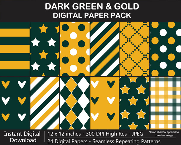 Dark Green and Gold Digital Paper Pack for Packers Football Fan Crafting!