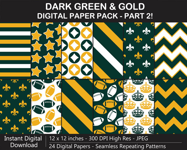 Love these fun dark green and gold seamless pattern digital papers!