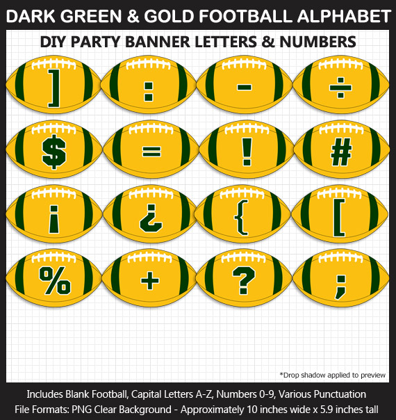 Love these fun Dark Green and Gold Football clipart for game day decoration - Letters, Numbers, Punctuation