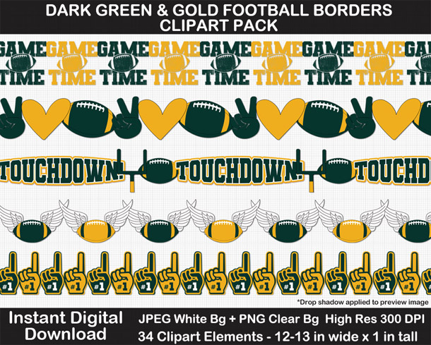 Love these fun football borders clipart! Go Packers!