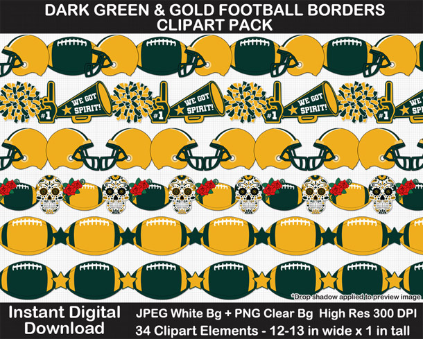 Love these fun dark green and gold football borders for scrapbooks, signs, and bulletin boards. Go Packers!