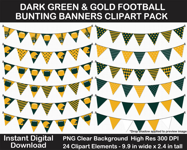 Love these fun dark green and gold football bunting banner cut outs for decorating! Go Packers!