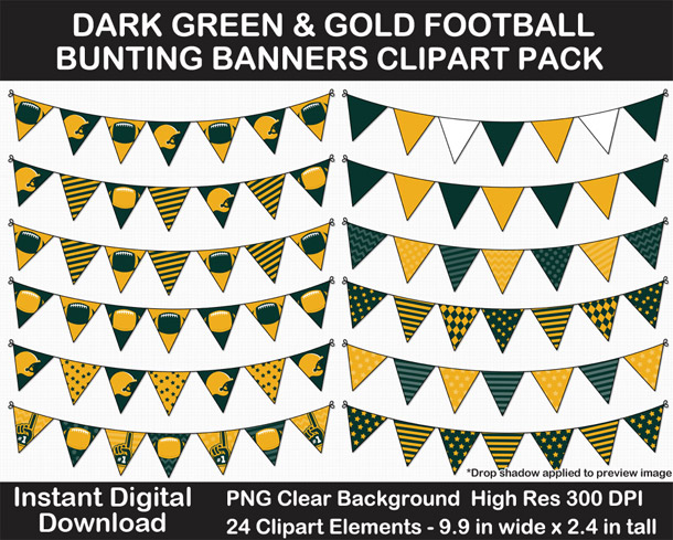 Love these fun Dark Green and Gold Football Theme Bunting Banner Clipart - Go Packers!