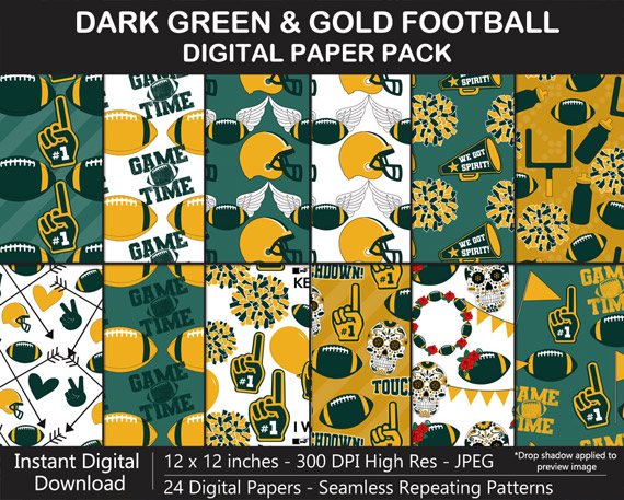 Dark Green and Gold Football Theme Digital Paper Pack - Go Packers!