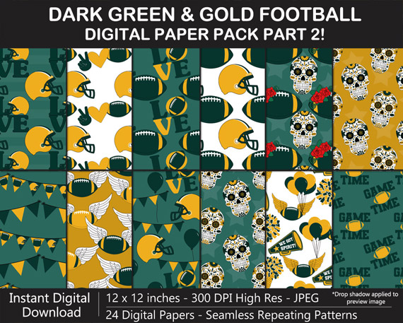 Love these fun Dark Green and Gold Football Digital Scrapbook Papers - Go Packers!