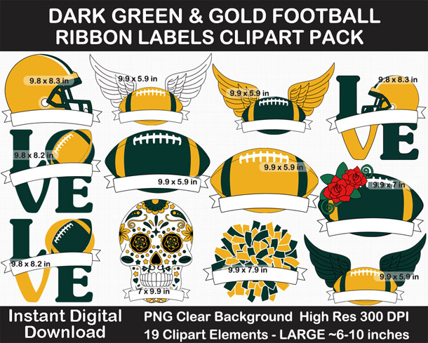 Dark Green and Gold Football Ribbon Label Clipart Pack - Go Packers!