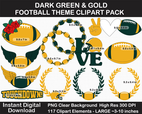 Love these dark green and gold football clipart for football season! Go Packers!