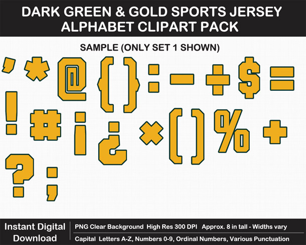 Love these fun Dark Green and Gold Sports Jersey Alphabet Clipart for Sign Making - Letters, Numbers, Punctuation - Go Packers!