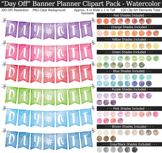 Rainbow Day Off Banner Clipart Pack for Planners - Clear Background PNG - Large 4 inches Wide x 1 inch Tall Resizeable - 100 Colors
