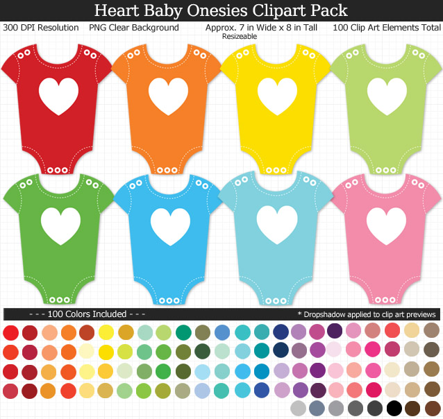 Rainbow Heart Baby Onesies Clipart Pack - Clear Background PNG - Large 7 inches Wide x 8 inches Tall Resizeable - 100 Colors