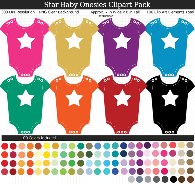 Rainbow Star Baby Onesies Clipart Pack - Clear Background PNG - Large 7 inches Wide x 8 inches Tall Resizeable - 100 Colors