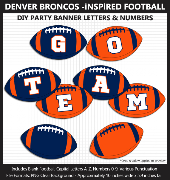 Love these fun Denver Broncos Football clipart for game day decoration - Letters, Numbers, Punctuation