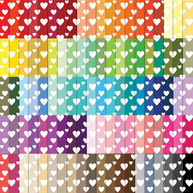 100 Colors Diagonal Hearts Digital Paper Pack