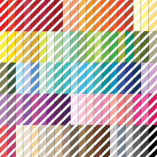 100 Colors Diagonal Stripes Digital Paper Pack
