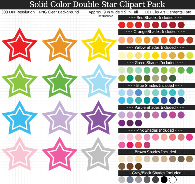 Rainbow Double Star Clipart Pack - Clear Background PNG - Large 9 inches Wide x 9 inches Tall Resizeable - 100 Colors