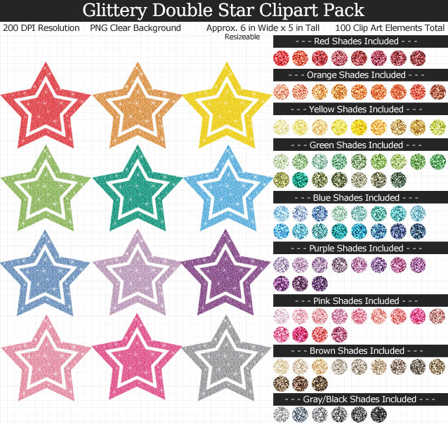 Rainbow Glitter Double Star Clipart Pack - Clear Background PNG - Large 6 inches Wide x 5 inches Tall Resizeable - 100 Colors
