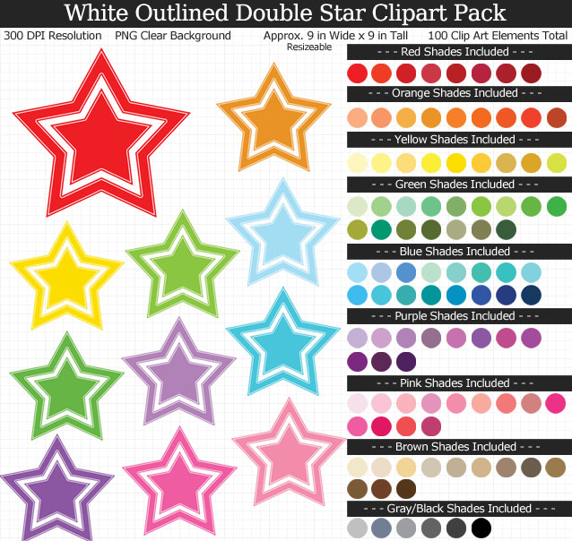 White-Outlined Double Stars Clipart Pack