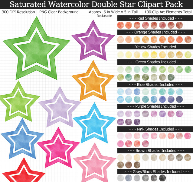 Watercolor Double Stars Clipart Pack