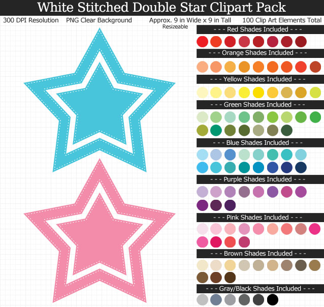 Rainbow White Stitched Double Star Clipart Pack - Clear Background PNG - Large 9 inches Wide x 9 inches Tall Resizeable - 100 Colors