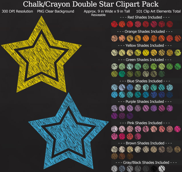 Chalk-Style Double Stars Clipart Pack