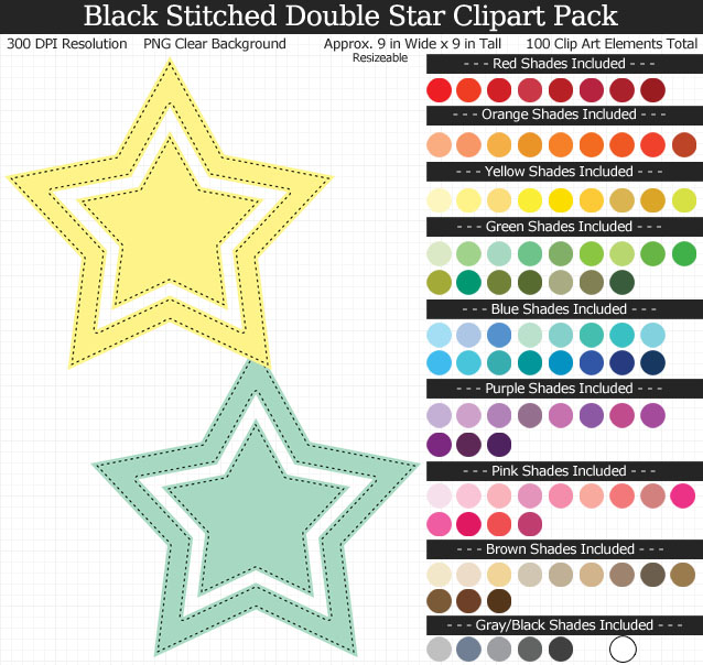 Rainbow Black Stitched Double Star Clipart Pack - Clear Background PNG - Large 9 inches Wide x 9 inches Tall Resizeable - 100 Colors