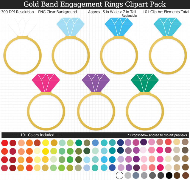 Rainbow Wedding Engagement Rings Clipart Pack - Gold Band - Clear Background PNG - Large 5 inches Wide x 7 inch Tall Resizeable - 101 Colors