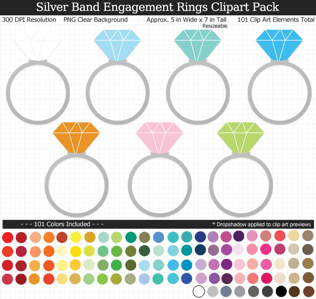 Rainbow Wedding Engagement Rings Clipart Pack - Silver Band - Clear Background PNG - Large 5 inches Wide x 7 inch Tall Resizeable - 101 Colors